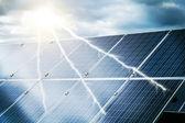 Abstrakcyjne pojęcie elektrowni za pomocą energii odnawialnej energii słonecznej — Zdjęcie stockowe