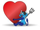 Blue devil holding a big Valentine heart — Stock Vector