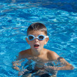 Boy with spectacles in the swimming pool — Stock Photo