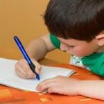 Boy writting homework from school in workbook — Stock Photo