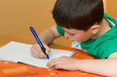Boy writting homework from school in workbook — Stock Photo