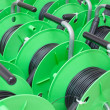 Group of cable reels for new fiber optic installation — Stock Photo