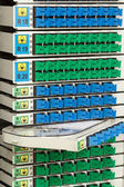 Fiber optic rack with high density of blue and green SC connectors — Photo