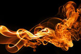 Fire and smoke on a black background — Stock Photo