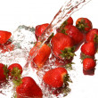 Water splash and strawberry — Stock Photo