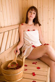 Mulher e sauna — Fotografia Stock