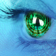 Eye iris and  circuit and binary internet concept - Stock Photo