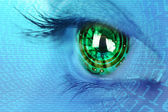 Eye iris and circuit and binary internet concept — ストック写真