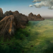 Aerial View Of Mountain Range - Digital Painting — Stock Photo
