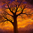 Bright Orange Sunset Dead Tree - Digital Art - Stock Photo