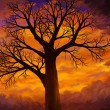 Bright Orange Sunset Dead Tree - Digital Art — Stock Photo