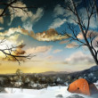 Camping In The Snow - Digital Painting - Stock Photo