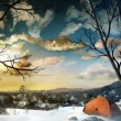 Stock Photo: Camping In The Snow - Digital Painting