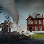 Tornado Destroying Houses - Digital Painting — Stock Photo
