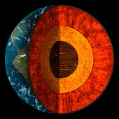 Cross-Section Of Planet Earth Illustration — 图库照片