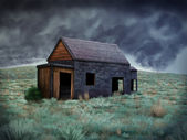 Solitary Abandoned Shack - Digital Painting — Stock Photo