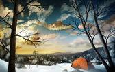 Camping im schnee - digitale malerei — Stockfoto
