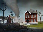 Pintura de casas destruindo de tornado - digitas — Foto Stock