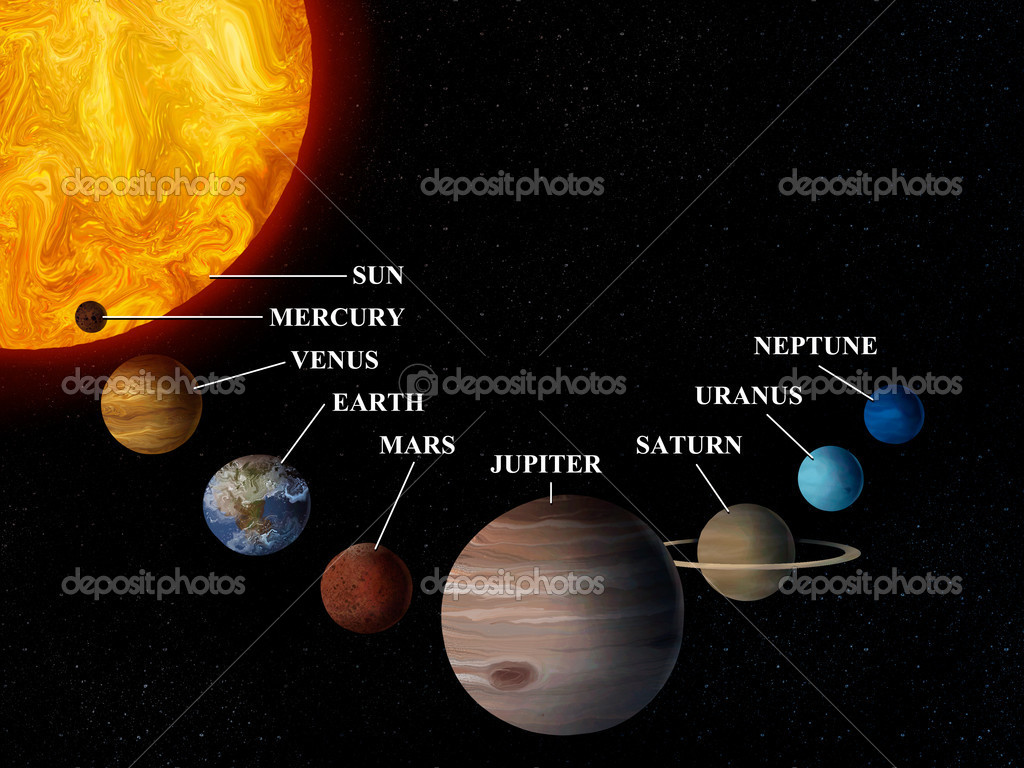 Digital painting of the inner planets of our solar system and the sun.  Stock Photo #9819404