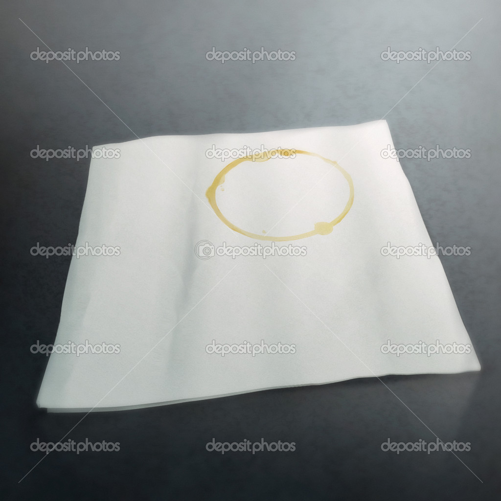 Digital still-life painting of a napkin with a ring-shaped coffee stain — Stock Photo #9819474
