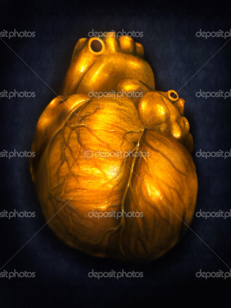 Digital painting of a human heart made of gold — Stock Photo #9819486