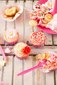 Table with birthday treats — Stock Photo
