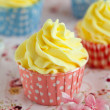 Stock Photo: Cupcakes with lemon buttercream