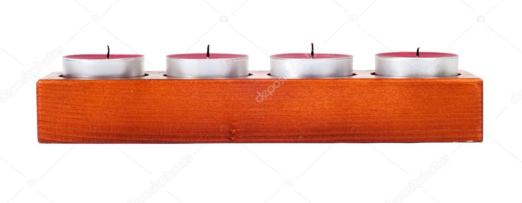 Wooden candleholder or candlestick with four candles isolated on white background — Stok fotoğraf #10237671