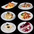 Set of different meals and deserts - Stock Photo