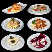 Set of different meals and deserts — Stock Photo