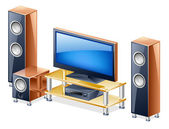 Home Theater System with TV and speakers — Stock Vector