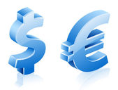 Dollar euro signs — Stock Vector