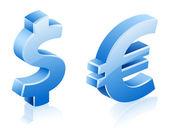 Dollar euro signs — Stock Vector