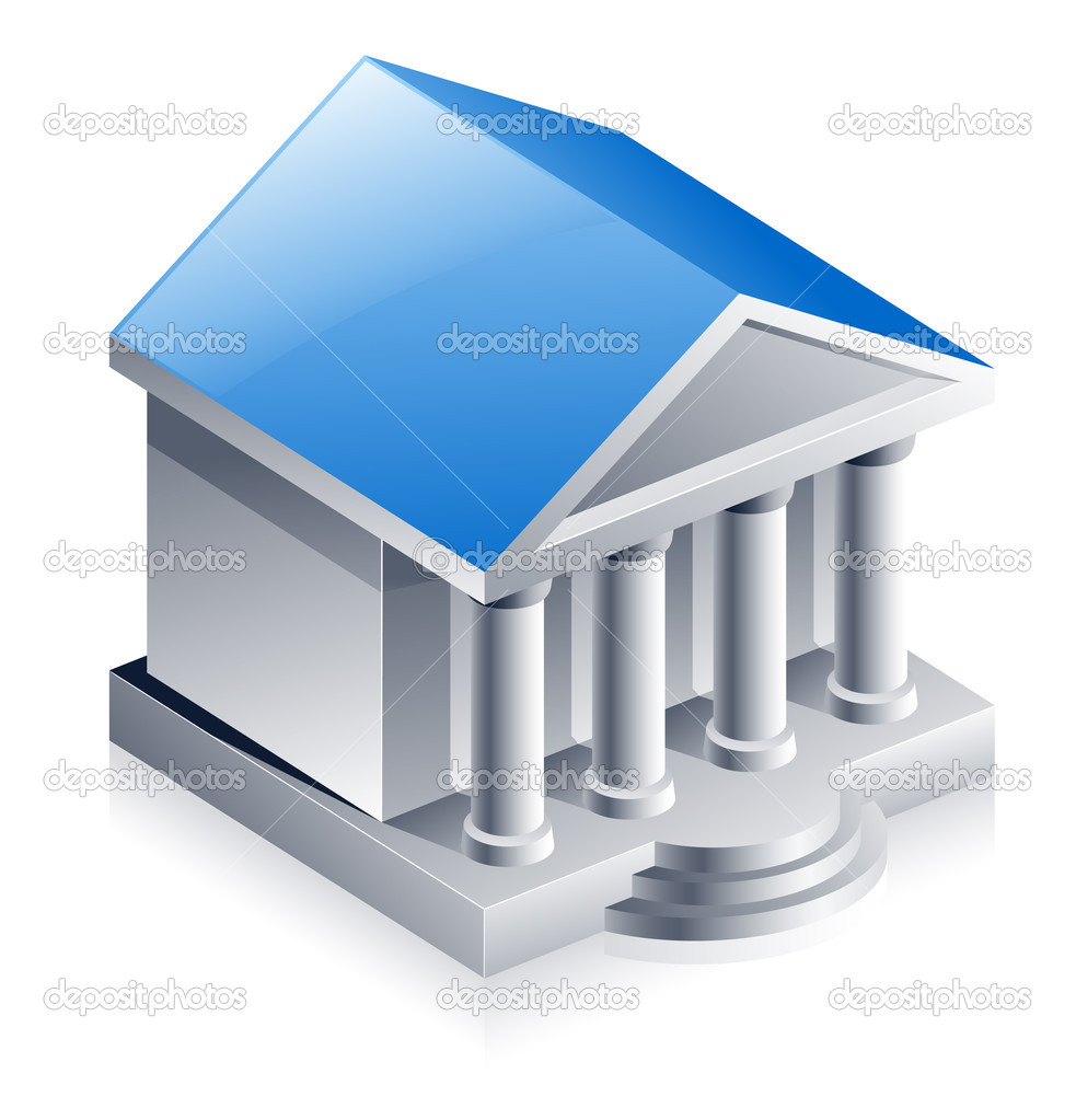 Vector illustration of bank building on white background — Stock Vector #8488717