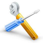 Werkzeuge: Schraubendreher, Schraubenschlüssel. — Stockvektor
