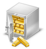 Opened safe with gold ingots — Stock Vector
