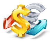 Rate of exchange: dollar, euro — Stock Vector