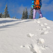 The tourist on a snow slope against the sky - Foto de Stock  
