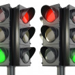 Stock Photo: Four sided traffic lightm red and green variations