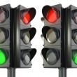 Royalty-Free Stock Photo: Four sided traffic lightm red and green variations