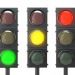 Постер, плакат: Set of traffic lights with red yellow and green lights