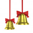 Two Christmas bells with red ribbons — Stock Photo
