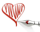 Metal ink pen nib draws heart — Stock Photo