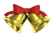 Two Christmas bells tied with red ribbon — Stock Photo