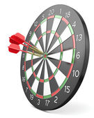 Three red darts hit center of board — Stock Photo