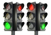 Four sided traffic lightm red and green variations — Stockfoto