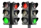 Vier beidseitig verkehr lightm roten und grünen varianten — Stockfoto