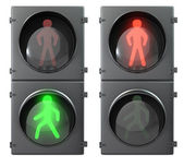 Set of pedestrian light lights with walk and go lights,front vie — Stock Photo