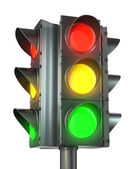 Four sided traffic light with red, yellow and green — Стоковое фото