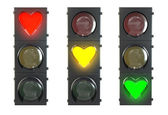 Set of traffic light with heart shaped red, yellow and green lam — Stock Photo